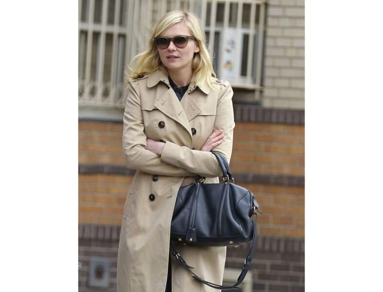 Kirsten Dunst : le sac noir classique version mi-saison