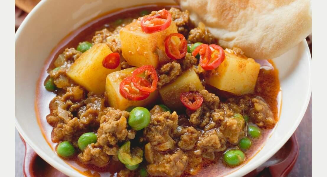 Keema matar (Curry d'agneau haché)