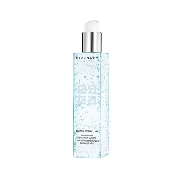 Hydra Sparkling - Lotion Bullée Hydration Lumière, Givenchy, flacon 200 ml, prix indicatif : 42 €