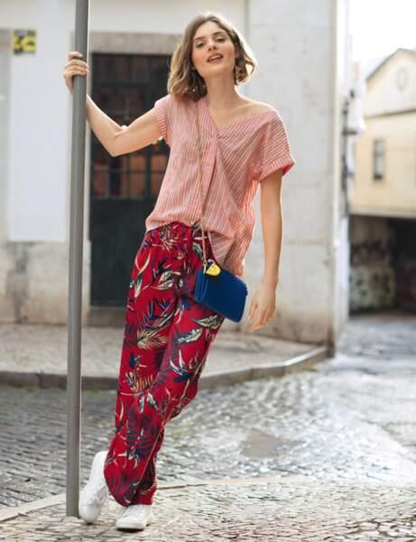 Pantalon tendance : pantalon large tropical
