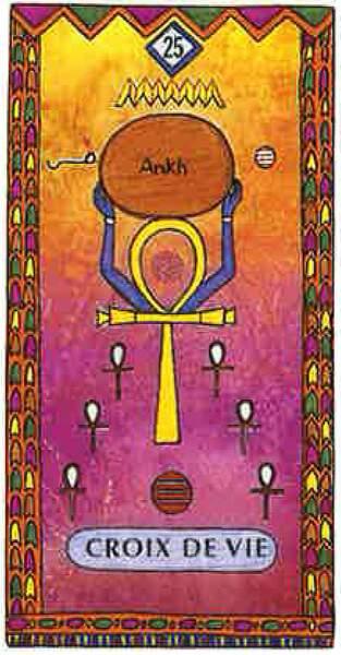 Lame 25 du tarot égyptien : Croix de vie