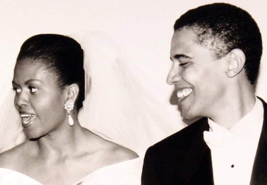 Photo du couple Obama le jour de leur mariage le 3 octobre 1992
