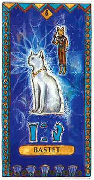 Lame 6 du tarot égyptien : Bastet