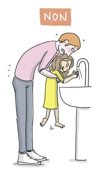 Quand on lui lave les mains