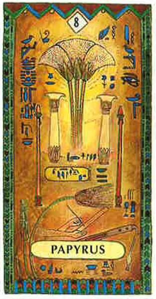 Lame 8 du tarot égyptien : Papyrus