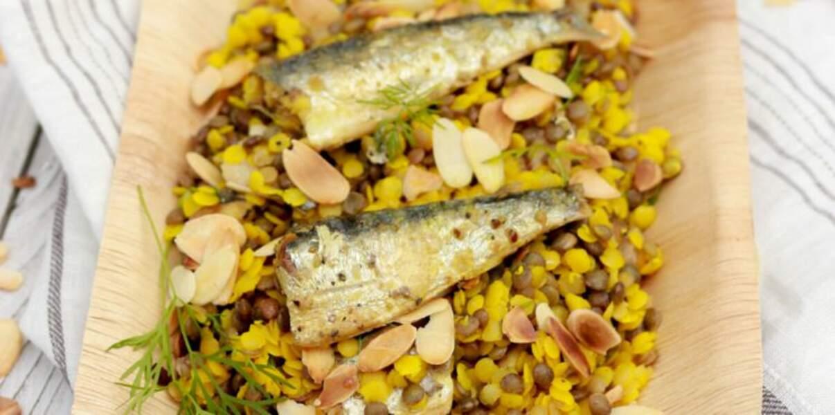 Duo de lentilles, amandes et sardines