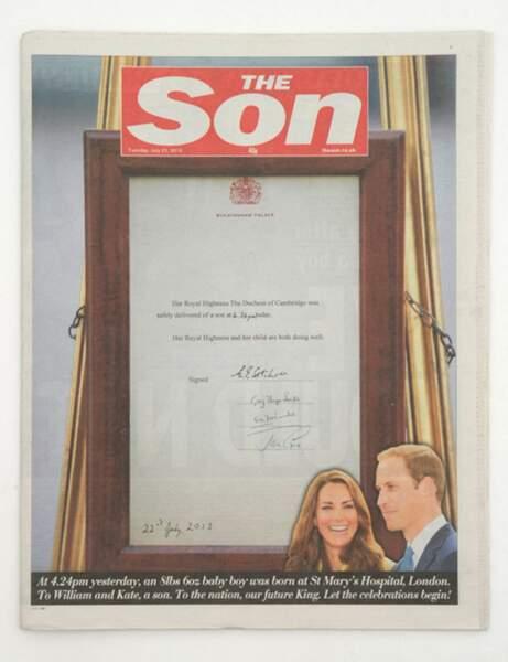 Le journal The Sun qui fait un joli clin d'oeil au fils de Kate et William