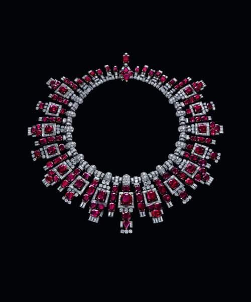 Collier de rubis de Nawanagar en platine, rubis et diamants