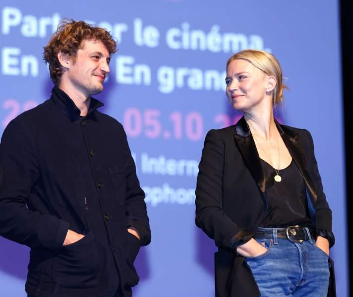 """Virginie Efira et Niels Schneider lors de la présentation du film """"Un amour impossible"""" en Belgique, septembre 2018"""