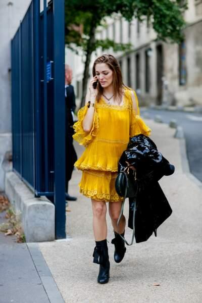 Paris Fashion Week Street Style : la robe jaune
