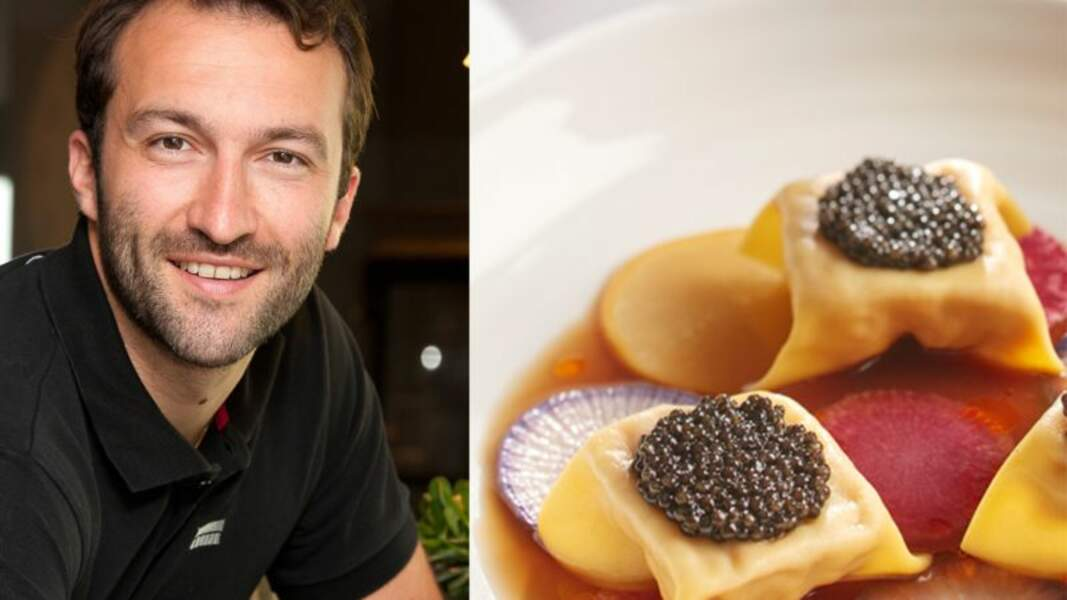 Ravioles de tourteau safrané, caviar et radis de Cédric Béchade