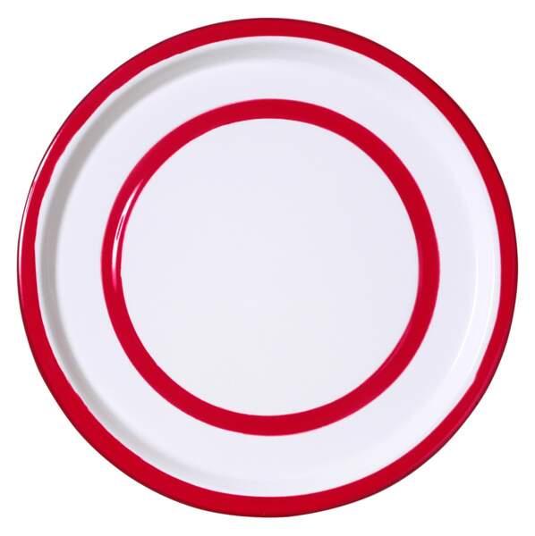 Assiette rouge et blanche