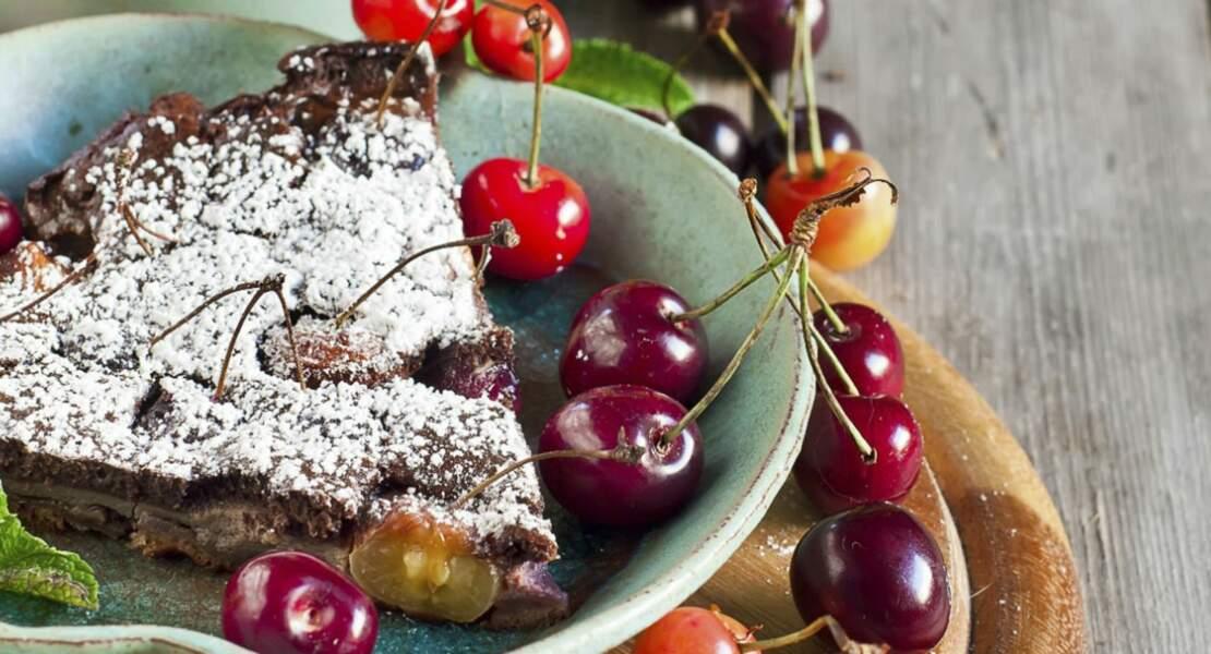 Clafoutis cerises-chocolat