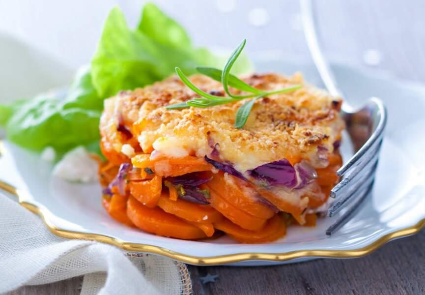 Menu Tout au four - Gratin de carottes confites au parmesan