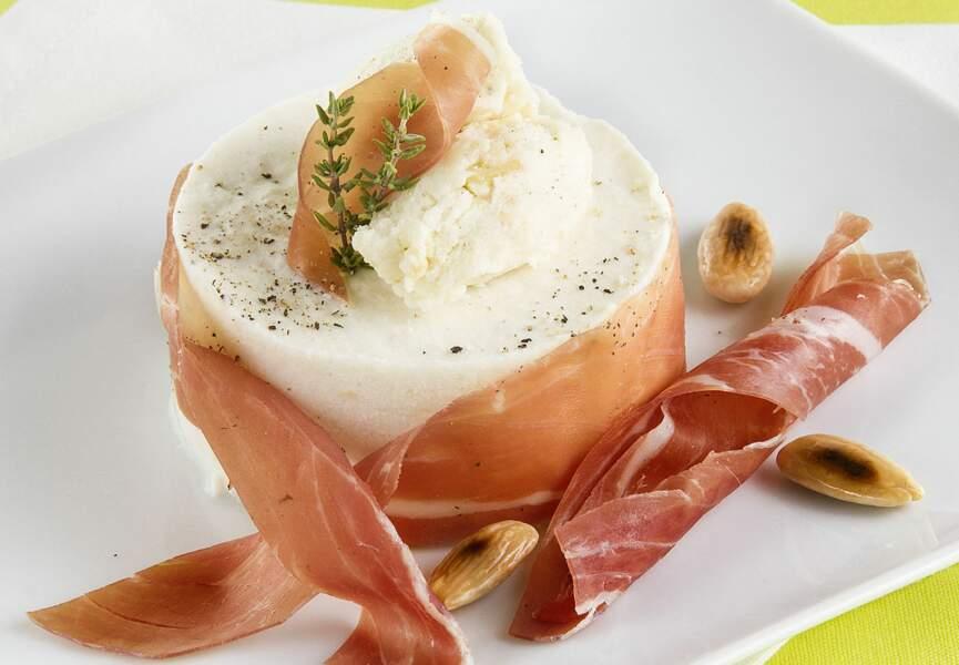 Menu Dolce Vita - Crème bavaroise à la ricotta, mozzarella aux amandes grillées
