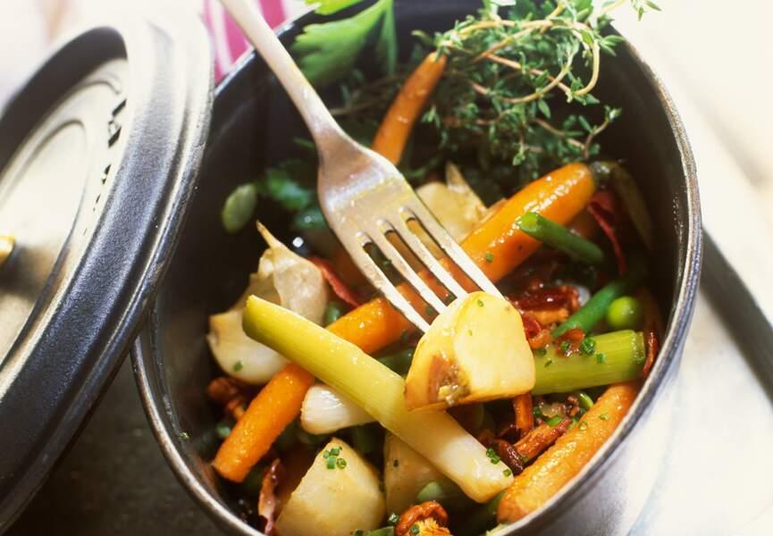 Cocotte de légumes fanes au jambon