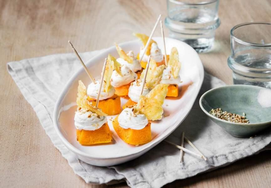 Butternut rôti au four, chantilly sésame et tuiles de Raclette RichesMonts