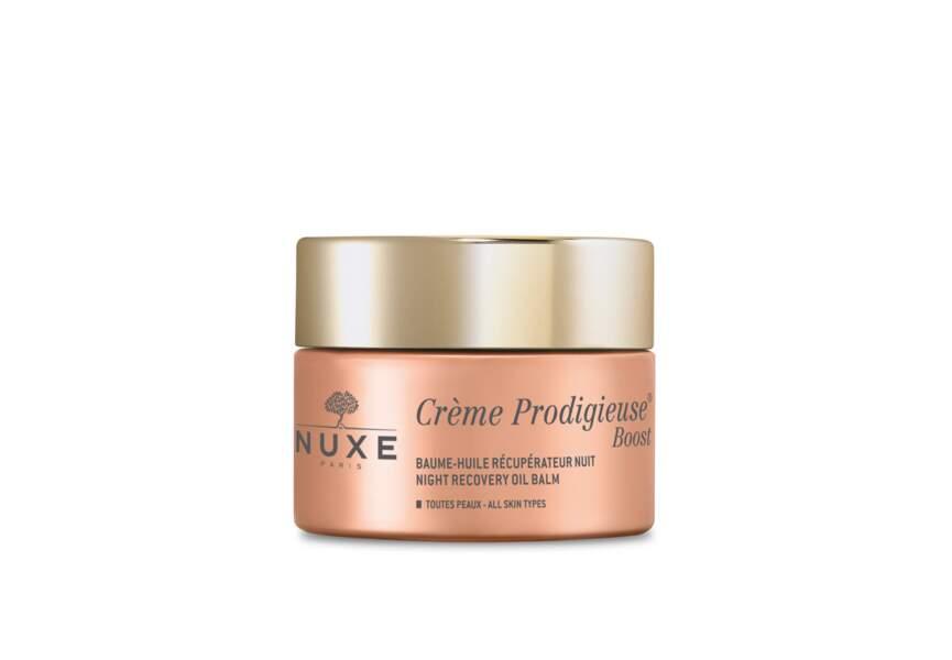 Le meilleur soin de nuit en pharmacie : Crème Prodigieuse Boost Baume-Huile Récupérateur Nuit Nuxe