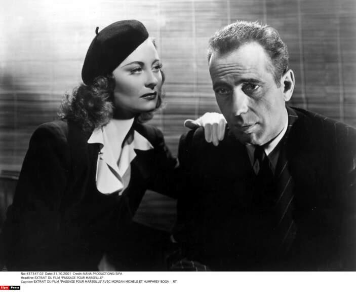 """Dans """"Passage pour Marseille"""" (1944), tourné à Hollywood, elle partage l'affiche avec Humphrey Bogart"""