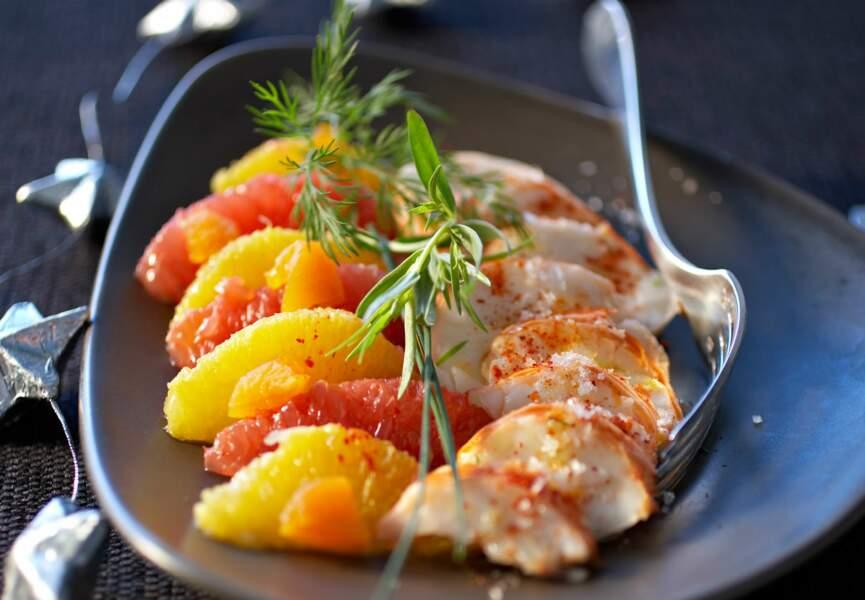 Langoustes tièdes sur panaché de fruits