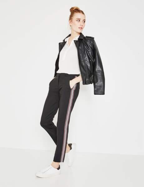 Pantalon tendance : pantalon à bandes