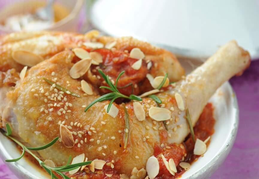 Tagine au poulet, amandes et tomates