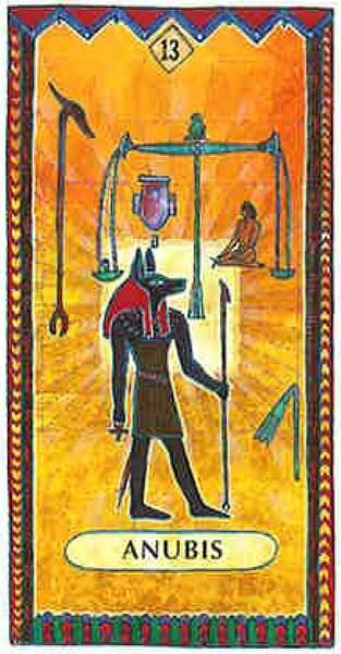 Lame 13 du tarot égyptien : Anubis
