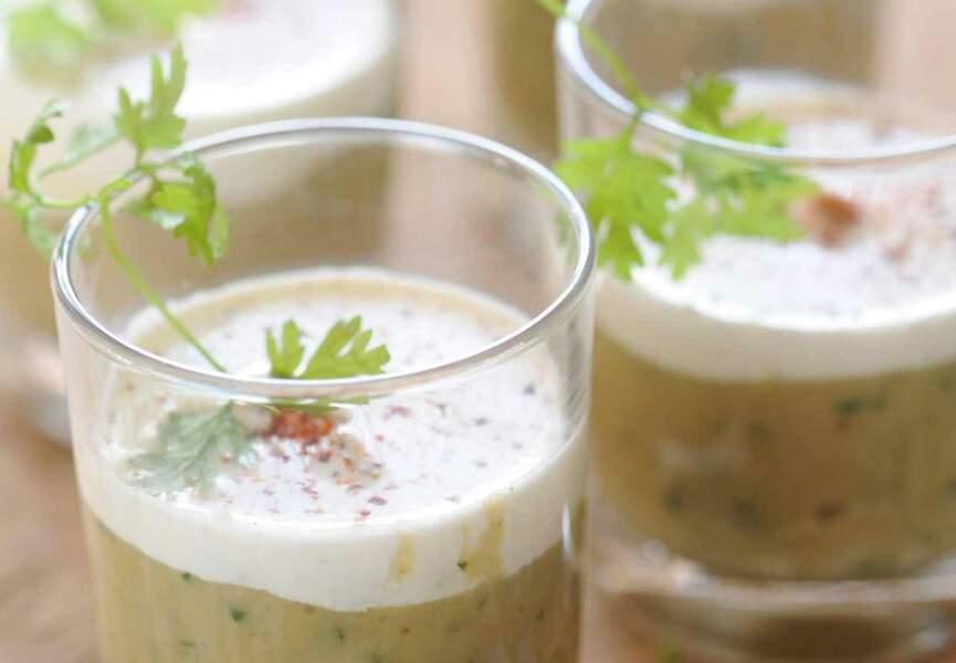 Verrine de caviar d'aubergine au lait de coco
