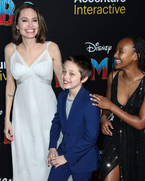 Angelina Jolie avec Knox Léon (10 ans) et Zahara (14 ans)