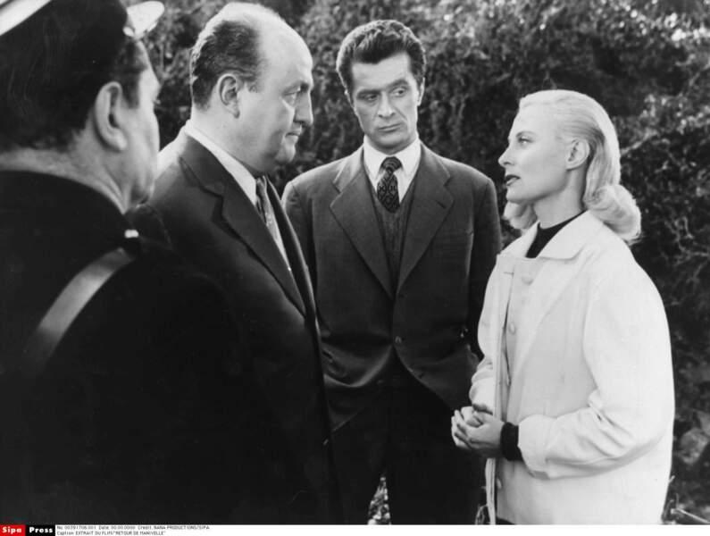 """Femme fatale dans le polar """"Retour de manivelle"""" aux côtés de Bernard Blier, en 1957"""