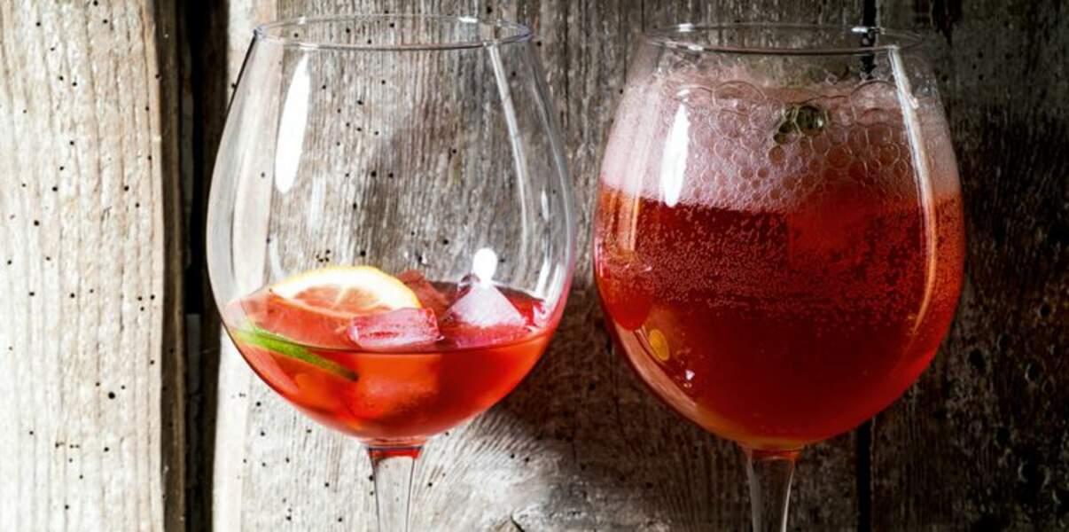 Spritz au gin, basilic pourpre et citron vert