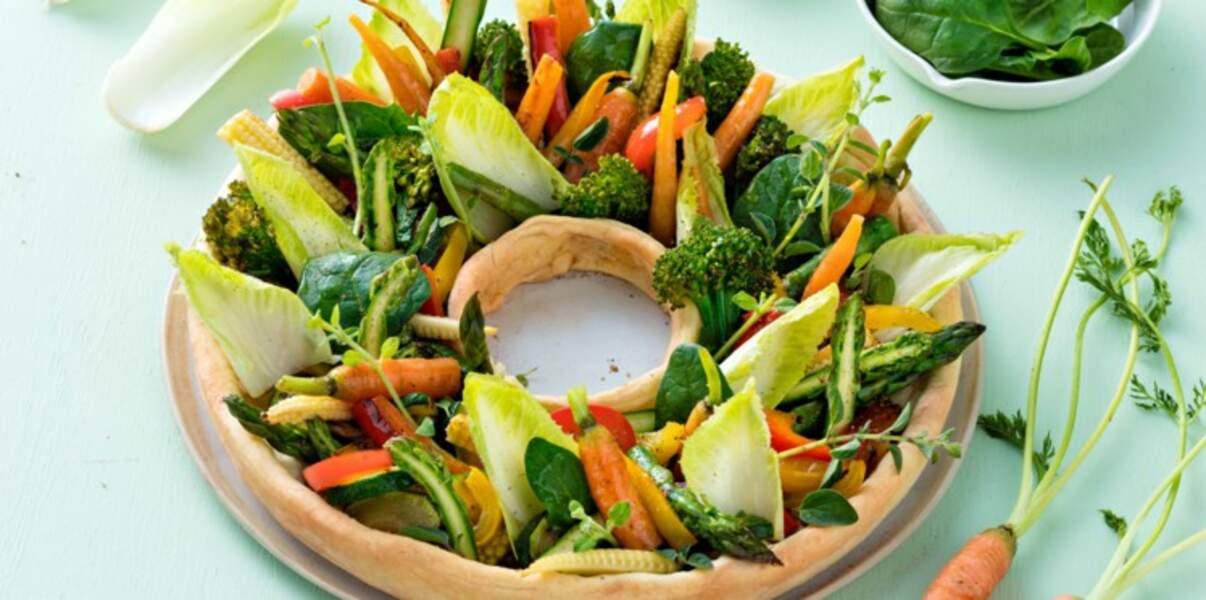 Tarte couronne aux légumes croquants