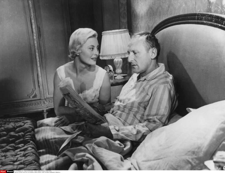 """Elle donne la réplique à Bourvil dans """"Le Miroir à deux faces"""" en 1958"""