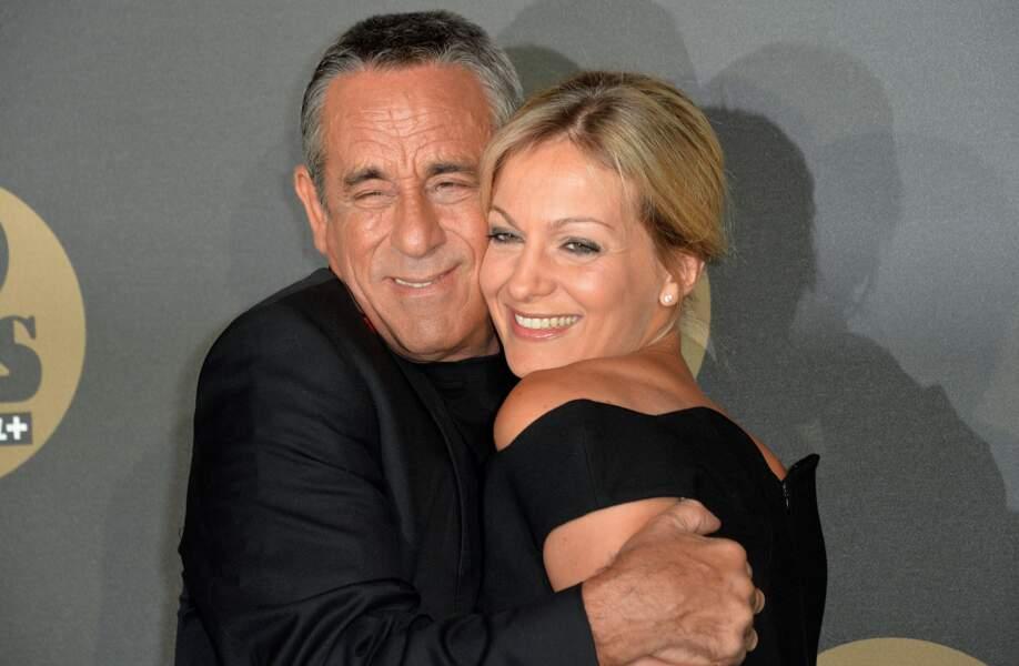 Thierry Ardisson et Audrey Crespo-Mara câlins lors de la soirée des 30 ans de Canal + à Paris (2014)