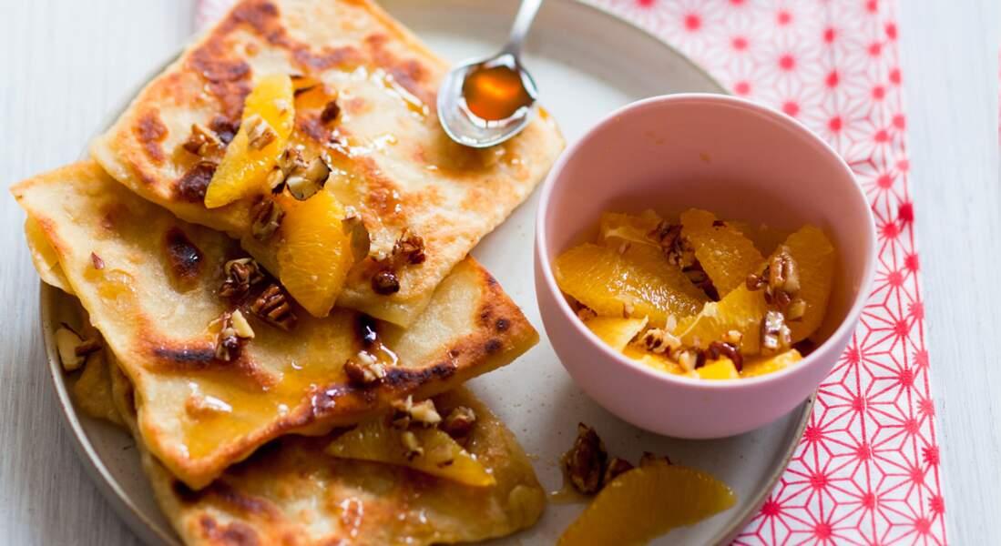 Msemen et salade d'oranges au miel
