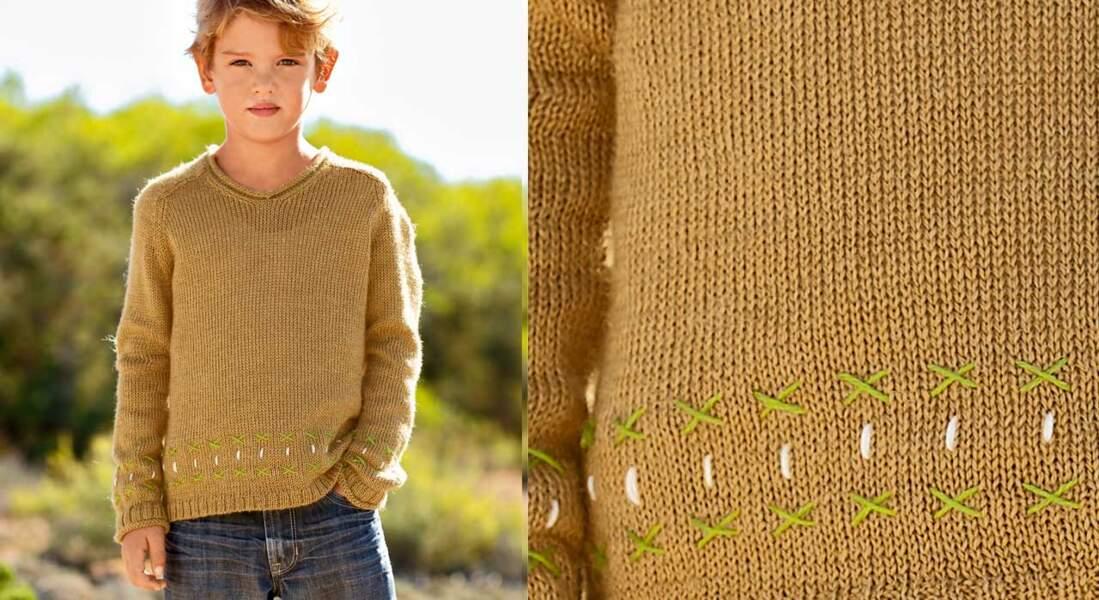 Le pull col V en jersey enfant