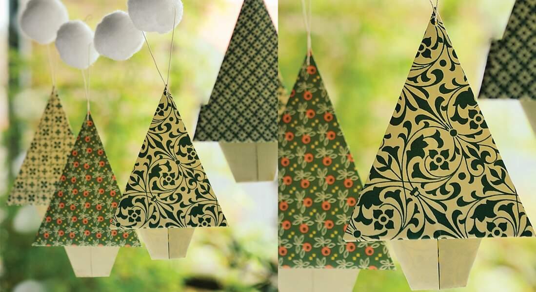 Des sapins de Noël en origami
