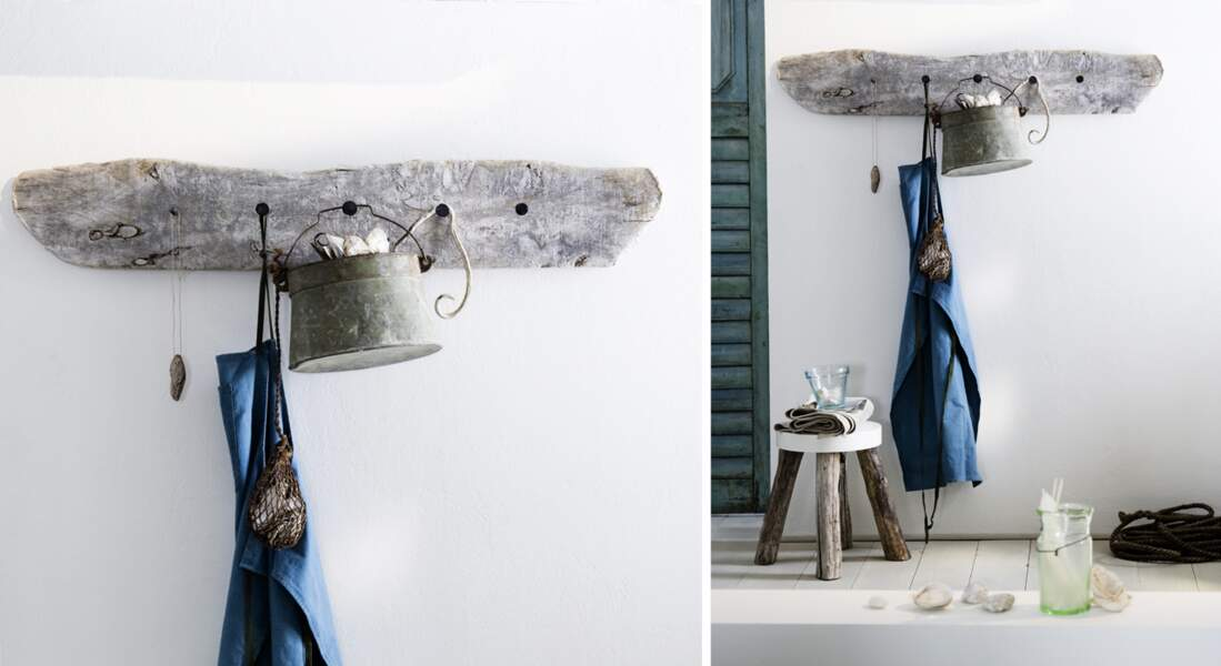 Déco : une porte-manteau en bois flotté