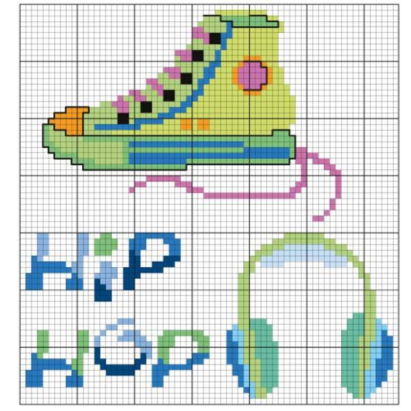 La grille Hip hop : baskets et casque