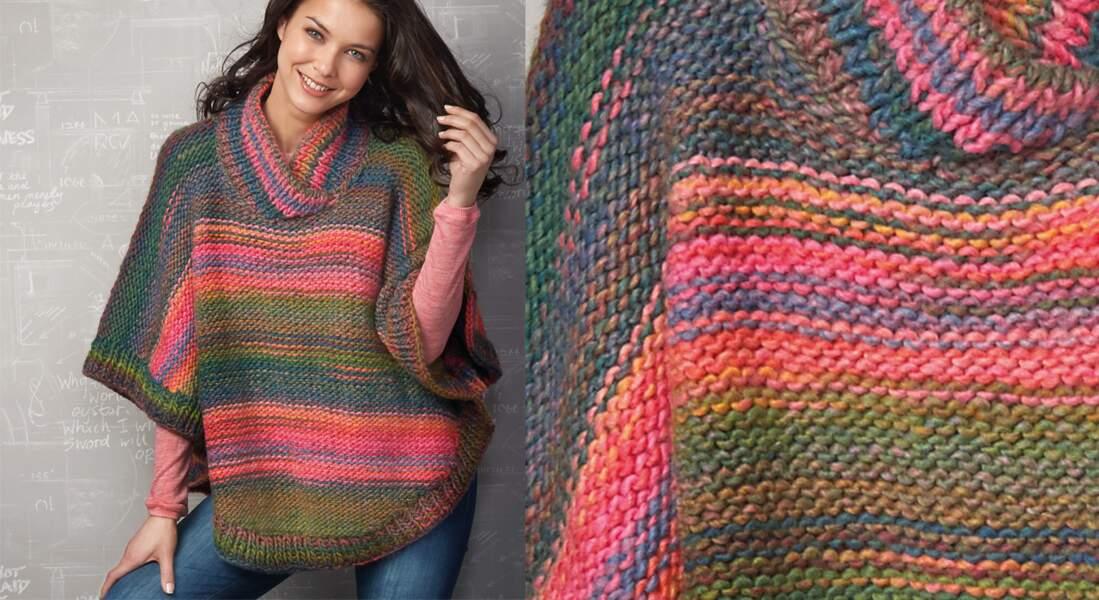 Le poncho multicolore en jersey