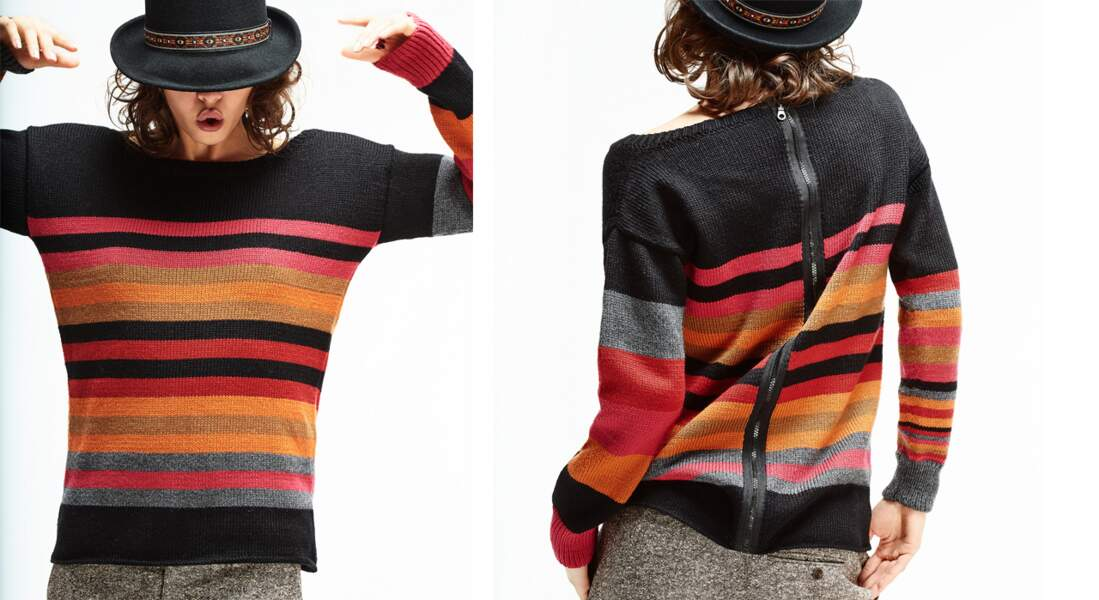 Le pull rayé avec zip