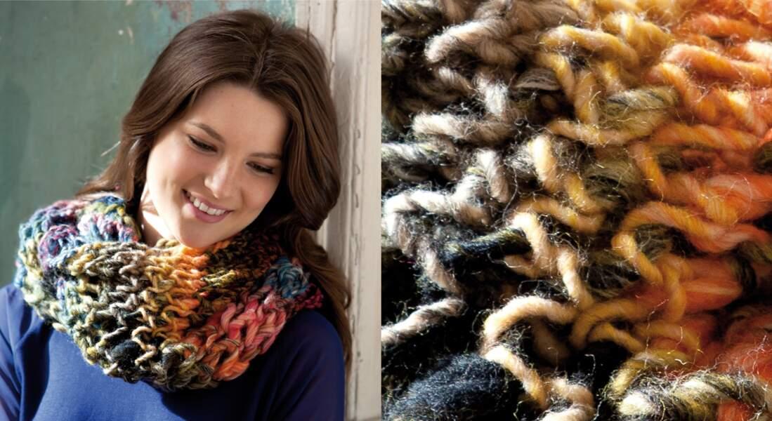 Modèle de tricot gratuit : le snood multicolore au point ajouré