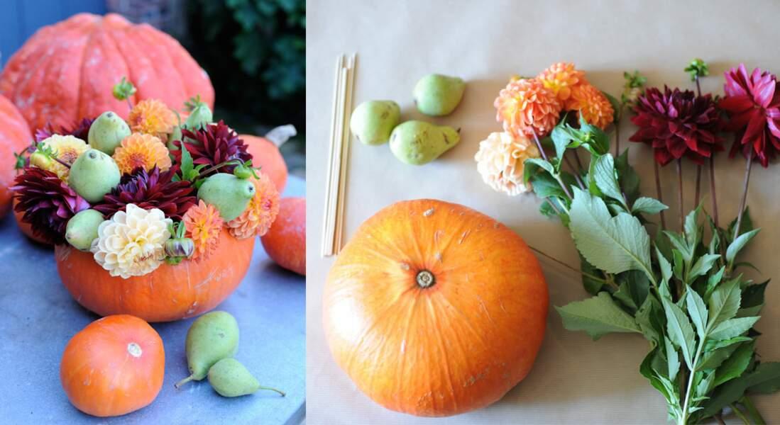 Décoration florale : un vase d'automne dans une citrouille