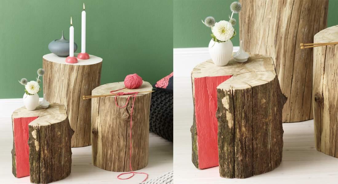 Déco en bois : des chevets à base de rondins