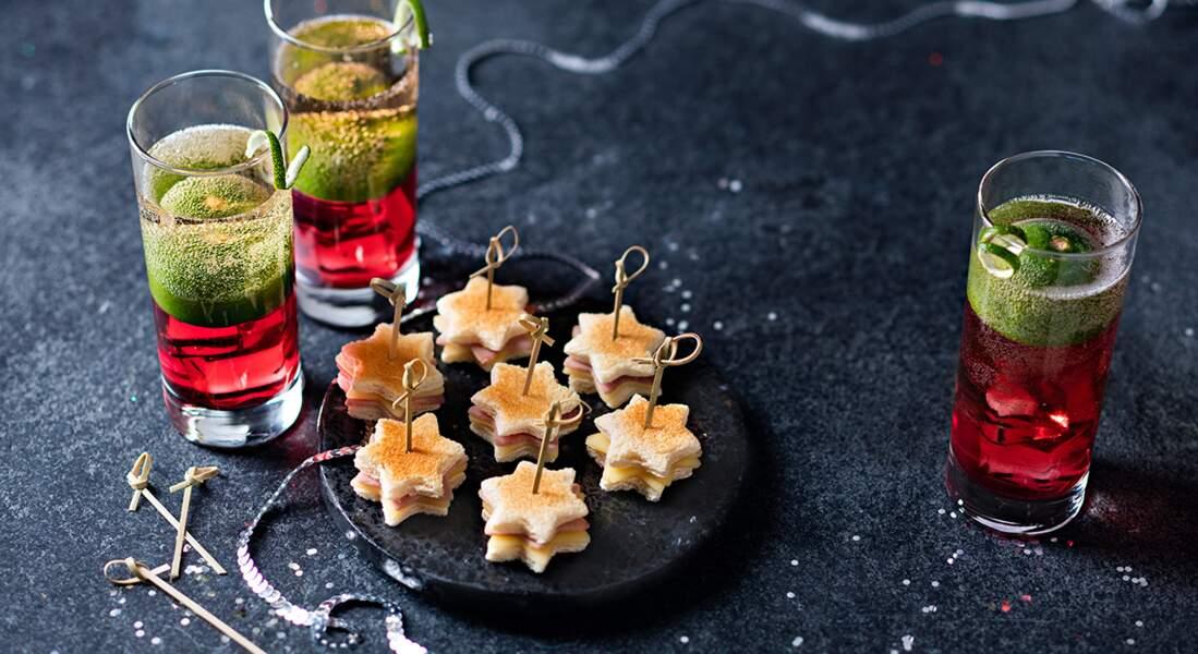 Mini-croques et cocktail ginger hibiscus