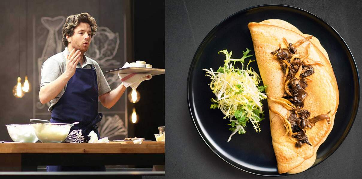 En vidéo, l'omelette soufflée aux champignons en 14 min de Jean Imbert