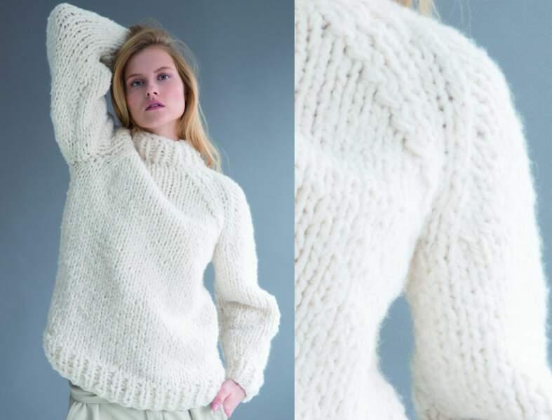 Tricoter un pull XXL à col cheminée