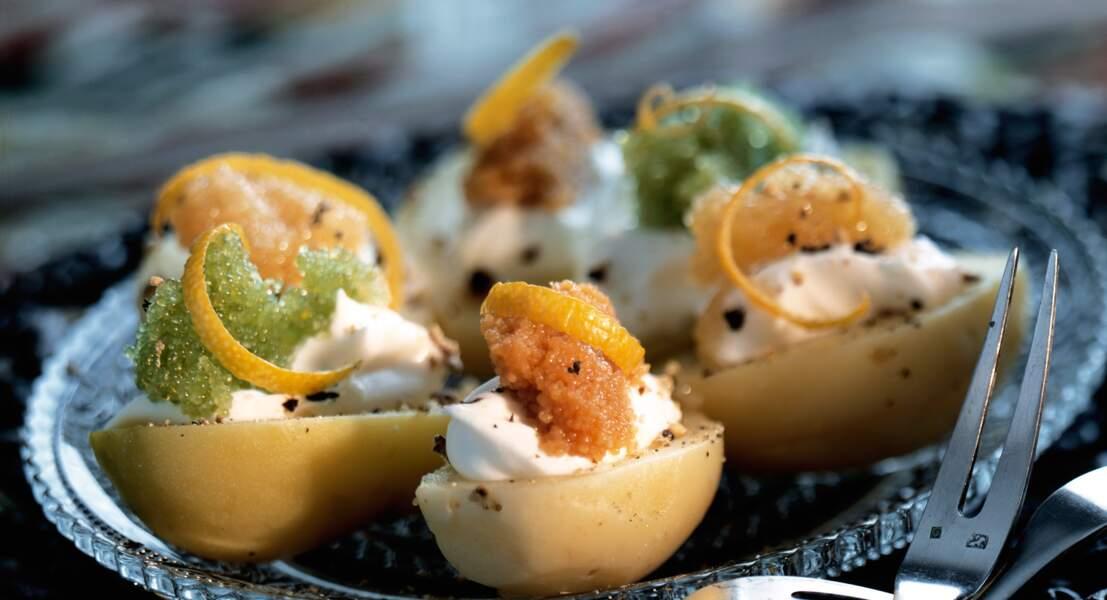 Pommes de terre farcies aux oeufs de poissons