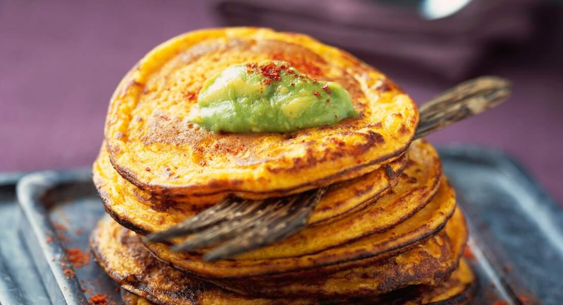 Crêpes de potiron et guacamole