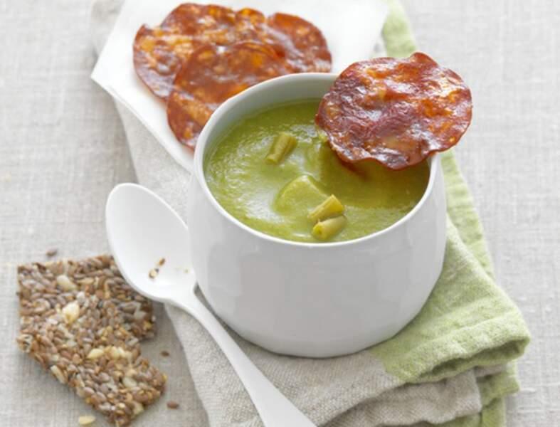 Soupe d'haricots verts au chorizo